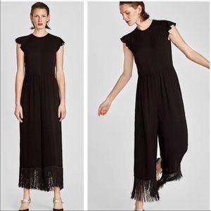 Nwt Zara Black Jumpsuit With Fringe Hem Size M